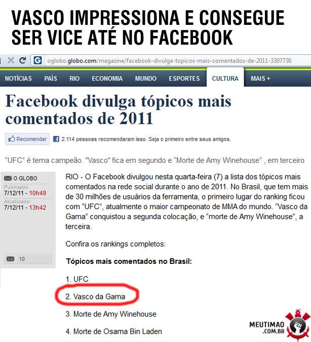 Vasco é vice até no facebook