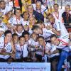 Jogadores do Corinthains pousando pra foto de campe�o da Libertadores