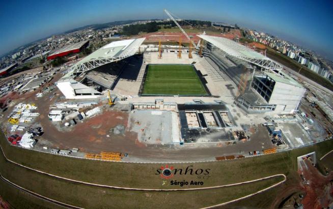 Vista do alto � poss�vel ver toda a grandiosidade da Arena Corinthians