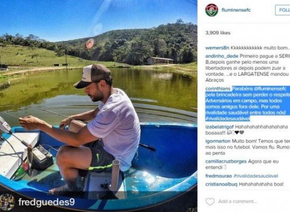 Corinthians parabeniza Fluminense por brincadeira em rede social ap�s vencer o Santos