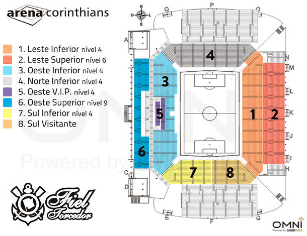 Mapa do est�dio da Arena Corinthians